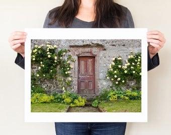 Old red door photo, Jane Austen art photograph, door photography. English cottage decor, Sense and Sensibility art, inspired by Jane Austen