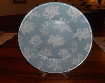 fabric backed plates, beach decor, beach life, sea fans, 10 inch plate, dinner plate, display plate