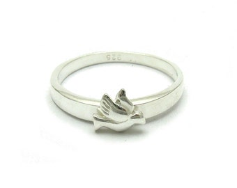 Sterling silver solid 925 small pigeon ring pendant