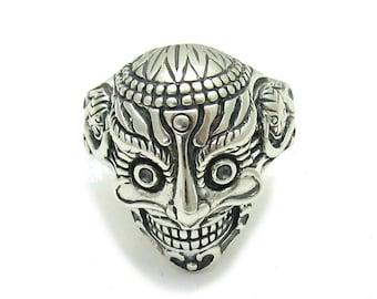 Sterling silver solid 925 skull ring biker pendant