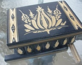 Puzzle Box Painted Carved Wood Comes With Key, Inside Lock (Grey)