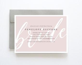 Pink Bridal Shower Invitation, Simple Bridal Shower Invitation, Modern Bridal Shower Invitations, Printable Bridal Shower Invitation, Bridal