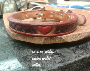 Small dog collar, leather dog collar, hearts collar, red leather, pet collar, animal jewelry,