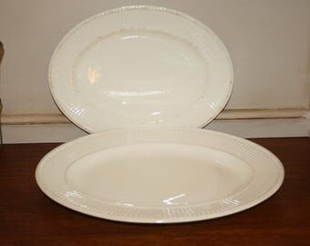 Two 2 Vintage Wedgwood Edme Ironstone Serving Platters Cream Ribbed Made in England Ironstone
