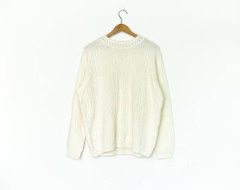 Vintage Off White Sweater Jumper Top  / Cable Knit Knitwear / Summer / Loose Slouchy Easy / medium