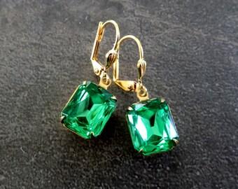 Swarovski Earrings Rhinestone Earrings Green Earrings Swarovski Jewelry Vintage Style Earrings Romantic Jewelry Every Day Earrings