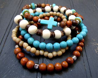 Bracelet Stack Turquoise Cross Bracelet Set Boho Bracelets Boho Stack Bracelet Beach Jewelry Resort Jewelry Wood Bracelet Tribal Jewelry