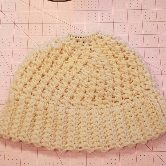 MESSY BUN - PONYTAIL hat / beanie - Cream acrylic red heart yarn crocheted Beanie - crochet rib and twisted stitch - fashion forwarrd