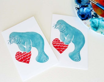 Manatee Notecards, Manatee Art, Set of Eight (8)