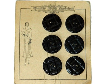 6 Vintage 1930s Art Deco Black Bakelite Coat Buttons