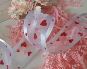 1.5 Inch Sheer / Satin Edge / Hearts Ribbon. Gift Wrapping,  Party Supplies