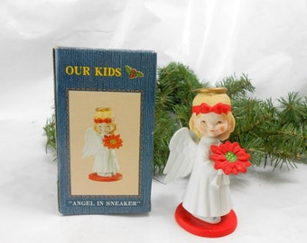 Vintage OUR KIDS  Angel in Sneaker strawberry blonde angel porcelain figurine hand pained bisque Lunds Lites Jane McDowell Christmas angel