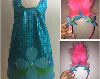 Adorable Sequins Trolls Poppy Costume w Matching Crystal Headband