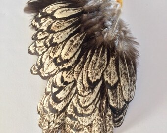 Gray White Brown Black Speckled FEATHER PAD for crafting or fly tying Rooster feathers