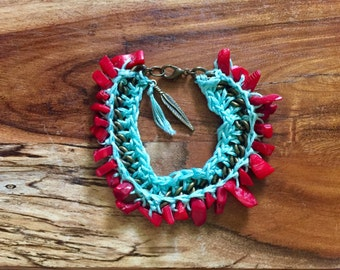 Sienna Bracelet in Red, Mint and Brass