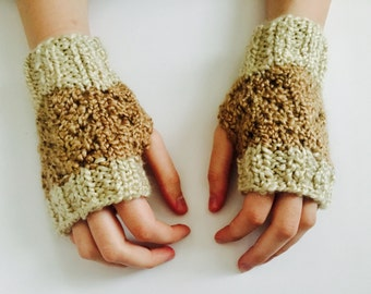 Beige Fingerless Gloves, Fingerless Mittens