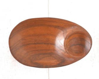 15% OFF Wooden Serving Bowl 1970s Vintage Long Dark Wood Oval Party Chip and Dip Tray