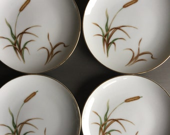 Sango September Song Bread & Butter Plates Brown Cattails China Vintage Set 4 - #D1004
