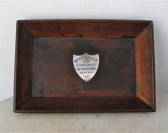 TUG of WAR TRAY Mahogany Pin Trophy Tray Sterling Silver Shield: W R P F A A Championship SGt Heseltine 1927 Splayed Sides English Hallmarks