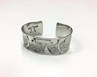 "Plantlife Cuff - Etched Stainless Steel - 1"" wide"