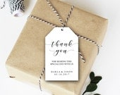 Editable Thank You Tags, Wedding Favor Tags, Shower Thank You, Party Tag, Event Thank You Template, PDF, Instant Download, Printable File
