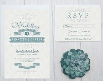 Cheap Wedding Invitation Set | Modern Wedding Invites | Slate Blue and Silver Invitations | Scroll Invite Suite | Royal Wedding Set