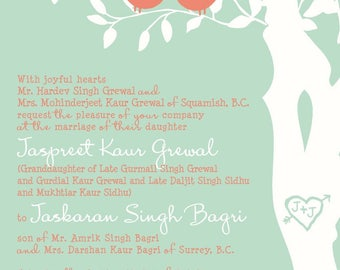 Custom Love Birds Wedding Invitation, Mint and Coral Wedding Invitation, Birds in a Tree, Custom SAMPLE 2 Listing for grewal17