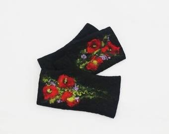 Felted Fingerless Gloves Fingerless Mittens Arm warmers Wristlets Merino Wool Black Poppies