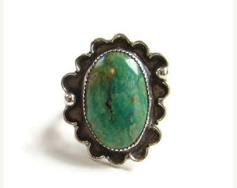 Navajo Oval Turquoise Ring Size 8 Sterling Silver Southwestern Indian Jewelry