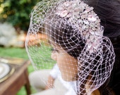 Blush Pink Old Hollywood Glamour Crystal Rhinestone Birdcage Wedding Veil - Nice