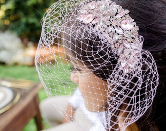 Customizable Blush Pink Silver Old Hollywood Glamour Crystal Rhinestone Birdcage Wedding Veil - Nice