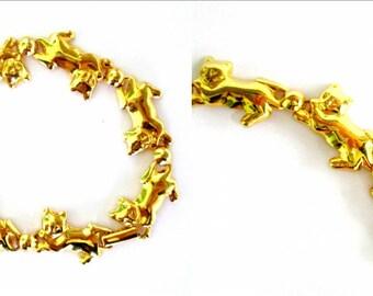Vintage Gold Cat Bracelet Kittens in a Row Adult Teen Tween Jewelry