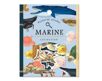 S151 Pictorial Sticker Flakes MARINE Collection, sea animals sticker flakes, fish sticker, whale, seahorse, turtle, stingray, shark sticker