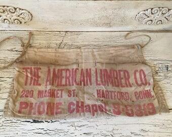 Vintage Cotton Work Apron - Messy Rustic Lumber Carpentry Half Apron - Hartford