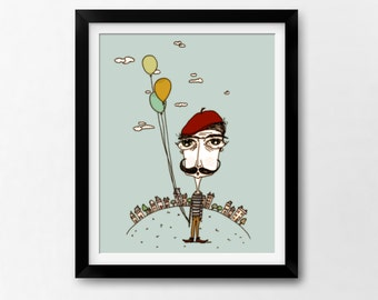 Moustache Printable Art Print, Instant Download Quirky Illustration by Sleepy Cloud Studios