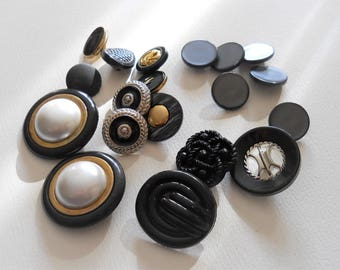 Vintage Black Buttons - Black and Gold Buttons - Novelty Plastic Shank Style - Sewing Button Destash