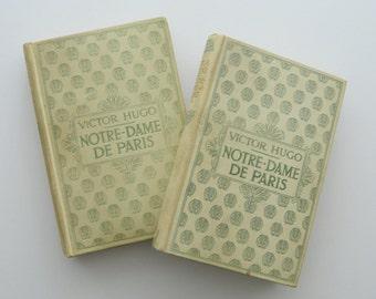 Notre-Dame de Paris, Victor Hugo. Two Volumes. Antique French Books. Circa 1895.