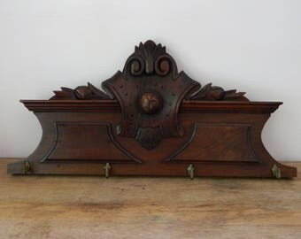 Antique Victorian Eastlake Carved Wood Wall Plaque with Brass Hooks.