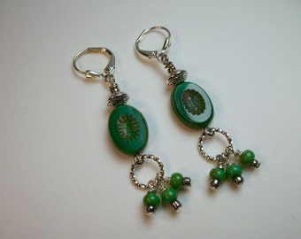 Green Natural Stone Dangle Earrings