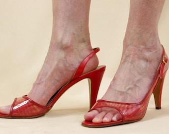 70s Andrew Geller Shoes * Red Heels * Red Open Toe Heels * Stiletto Heels * Red Slingback Heels * Andrew Geller Heels * Italy