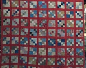 1930's ANTIQUE Vintage 4-PATCH Quilt large variety of GORGEOUS Fabrics!