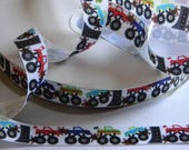 """Monster Trucks Grosgrain Ribbon 5 yards of 7/8"""" White with Truck Print for Boys Monster Truck Themed Birthday Party Favor Ties Boys Crafts"""