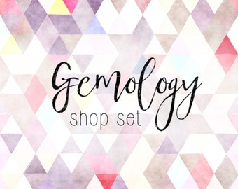 Pink Watercolor Geometric Etsy Banner Set Graphics Package