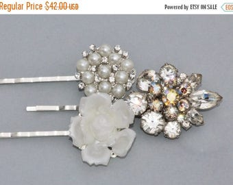 SALE Authentic Vintage Silver Rhinestone & Pearl Bridal Hair Pins,Repurposed Earrings,Brooches,Ivory Pearl,Off White,Something Old,Set of Th