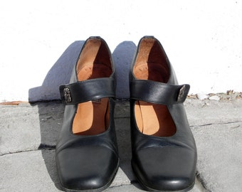 Black leather flamenco shoes black leather spanish shoes black leather tango shoes black senorita shoes black comfortable heels black heels