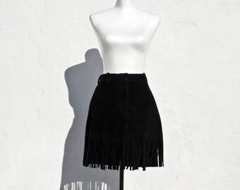 Donna Karan black leather fringe skirt black leather mini skirt boho skirt black skirt suede fringe skirt black leather mini skirt