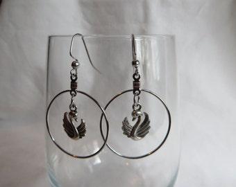 Swan Dangle Earrings, earrings, dangle, swan