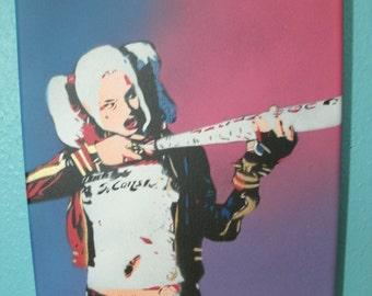 """Suicide Squad 5 Layer Handcut Harley Quinn Stencil Painting by Jessica Pope - 8"""" x 10"""" Canvas"""