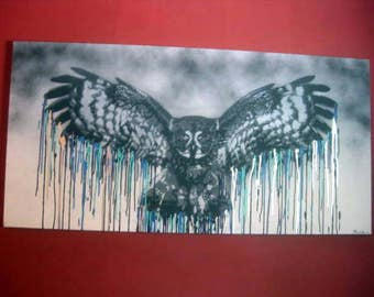 """Stencil New One of a Kind LARGE Canvas Owl Painting 24"""" x 36"""" Blue Silver Chrome Grey - PICKUP ONLY in Houston, Texas"""