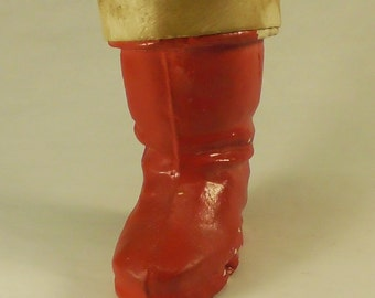 Red Paper Mache' Santa Boot 1940's Candy Container Christmas Decoration